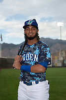 Ogden Raptors infielder Ronny Brito (5) poses for a photo prior to a Pioneer League game against the Billings Mustangs at Lindquist Field on August 17, 2018 in Ogden, Utah. The Billings Mustangs defeated the Ogden Raptors by a score of 6-3. (Zachary Lucy/Four Seam Images)