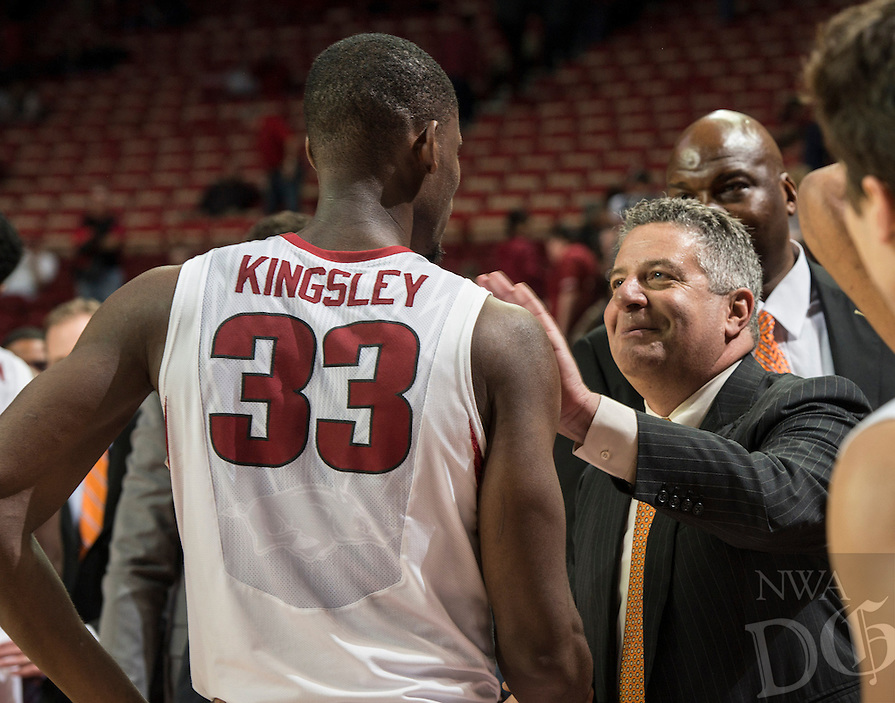 NWA Democrat-Gazette/ANTHONY REYES &bull; @NWATONYR<br /> Arkansas Razorbacks forward Moses Kingsley (33) is congratulated by Auburn head coach Bruce Pearl after the game Wednesday, Feb. 17, 2016 at Bud Walton Arena in Fayetteville. The Razorbacks lost 90-86.