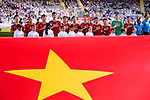 Vietnam squad listen to their national anthem prior to the AFC Asian Cup UAE 2019 Group D match between Vietnam (VIE) and I.R. Iran (IRN) at Al Nahyan Stadium on 12 January 2019 in Abu Dhabi, United Arab Emirates. Photo by Marcio Rodrigo Machado / Power Sport Images