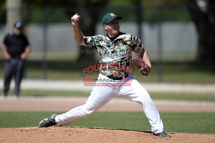 Slippery Rock pitcher Ryan Oglesby (12) during a game against Upper Iowa University at Frank Tack Field on March 14, 2014 in Clearwater, Florida.  Slippery Rock defeated Upper Iowa 14-9.  (Mike Janes/Four Seam Images)