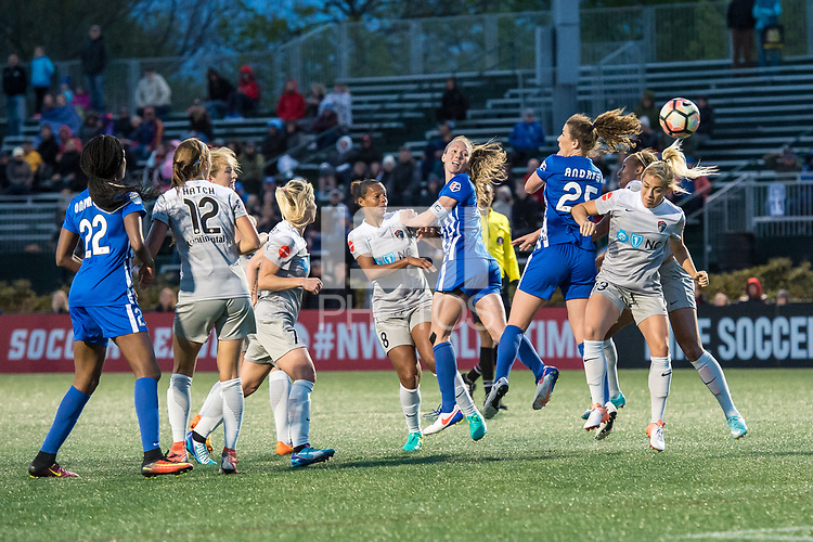 Boston, MA - Sunday May 07, 2017: Rosana Dos Santos Augusto, Julie King, Morgan Andrews and Abby Dahlkemper during a regular season National Women's Soccer League (NWSL) match between the Boston Breakers and the North Carolina Courage at Jordan Field.