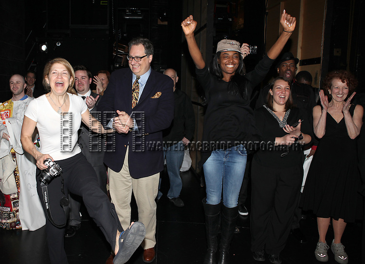 Victoria Clark, Douglas Carter Beane, Patina Miller, Sarah Bolt & Audrie NeenanVictoria Clark, Douglas Carter Beane, Patina Miller, Sarah Bolt & Audrie Neenan.attending the 'Sister Act'  Broadway Opening Night Performance Gypsy Robe Ceremony for recipient Kevin Ligon at the Broadway Theatre n New York City.