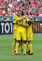 July 20, 2013: The Columbus Crew celebrate a goal by Columbus Crew foward/midfielder Dominic Oduro #11 during a game between Toronto FC and the Columbus Crew at BMO Field in Toronto, Ontario Canada.<br /> Toronto FC won 2-1.