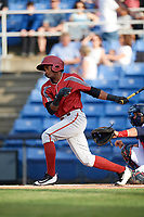 Altoona Curve center fielder Pablo Reyes (27) follows through on a swing during a game against the Binghamton Rumble Ponies on May 17, 2017 at NYSEG Stadium in Binghamton, New York.  Altoona defeated Binghamton 8-6.  (Mike Janes/Four Seam Images)