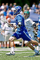 April 30, 2011:  Duke Blue Devils midfielder David Lawson (2) runs the ball down field during lacrosse action between the Duke Blue Devils and Jacksonville Dolphins at D. B. Milne Field in Jacksonville, Florida.  Duke defeated Jacksonville 10-6.