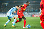 Adelaide United Forward Papa Babacar Diawara (R) fights for the ball with Jiangsu FC Defender Zhou Yun (L) during the AFC Champions League 2017 Group H match between Jiangsu FC (CHN) vs Adelaide United (AUS) at the Nanjing Olympics Sports Center on 01 March 2017 in Nanjing, China. Photo by Marcio Rodrigo Machado / Power Sport Images