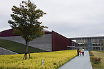 Photo shows the exterior of the Shimane Museum  of Ancient Izumo, which was designed by Maki Fumihiko,  in Izumo City, Shimane Prefecture , Japan on 05 Nov. 2012.  Photographer: Robert Gilhooly