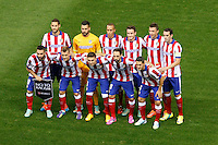 Atletico de Madrid´s players before Champions League soccer match between Atletico de Madrid and Malmo at Vicente Calderon stadium in Madrid, Spain. October 22, 2014. (ALTERPHOTOS/Victor Blanco)
