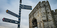 Pictured: Castle Square signs by Caernarfon Castle. Saturday 02 November 2019<br /> Re: North Wales, UK.