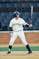 Garrett Kelly (28) of the Wake Forest Demon Deacons at bat against the Towson Tigers at Wake Forest Baseball Park on February 15, 2014 in Winston-Salem, North Carolina.  The Tigers defeated the Demon Deacons 5-4.  (Brian Westerholt/Four Seam Images)