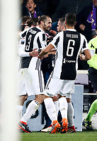 Calcio, Serie A: Fiorentina - Juventus, stadio Artemio Franchi Firenze 9 febbraio 2018.<br /> Juventus' Federico Bernardeschi celebrates with his teammates after scoring during the Italian Serie A football match between Fiorentina and Juventus at Florence's Artemio Franchi stadium, February 9, 2018.<br /> UPDATE IMAGES PRESS/Isabella Bonotto