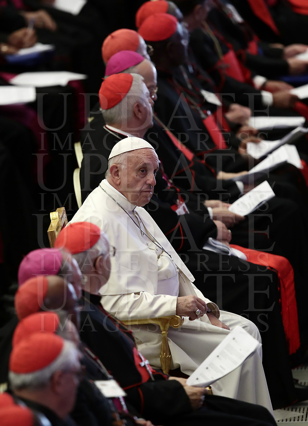 Pope Francis sits among Bishops and Cardinals during a meeting with the youth and the Synod Fathers in the Paul VI Hall at the Vatican, on October 6, 2018. <br /> UPDATE IMAGES PRESS/Isabella Bonotto<br /> <br /> STRICTLY ONLY FOR EDITORIAL USE