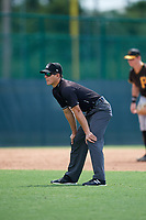 Umpire Steven Rios during a Florida Instructional League game between the Detroit Tigers and the Pittsburgh Pirates on October 2, 2018 at the Pirate City in Bradenton, Florida.  (Mike Janes/Four Seam Images)