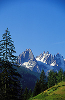 France.  Alps.  Les Aiguilles des Drus, (3842m) or Les Aiguilles du Midi, near to Chamonix and Mont Blanc