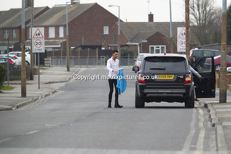 EXCLUSIVE ALL ROUND PICTURE: MATRIXPICTURES.CO.UK.PLEASE CREDIT ALL USES..WORLD RIGHTS..English X Factor pop singer and Celebrity Big Brother winner Rylan Clark is pictured smoking a cigarette outside his house in Brentwood, Essex today...MARCH 28th 2013..REF: WJH 132049