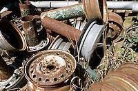 Scrap metal wheels Culworth Northamptonshire UK..©shoutpictures.com..john@shoutpictures.com