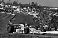 WATKINS GLEN, NY - OCTOBER 10: James Hunt of Great Britain drives his McLaren M23 8-2/Ford Cosworth en route to victory in the United States Grand Prix East FIA Formula 1 race at the Watkins Glen Grand Prix Race Course near Watkins Glen, New York, on October 10, 1976.