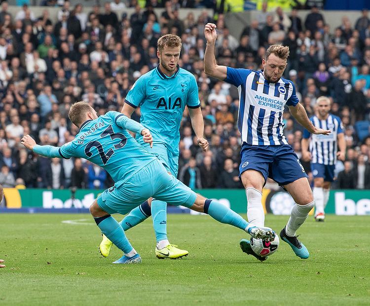 Brighton & Hove Albion's Dale Stephens (right) is tackled by Tottenham Hotspur's Christian Eriksen (left) <br /> <br /> Photographer David Horton/CameraSport<br /> <br /> The Premier League - Brighton and Hove Albion v Tottenham Hotspur - Saturday 5th October 2019 - The Amex Stadium - Brighton<br /> <br /> World Copyright © 2019 CameraSport. All rights reserved. 43 Linden Ave. Countesthorpe. Leicester. England. LE8 5PG - Tel: +44 (0) 116 277 4147 - admin@camerasport.com - www.camerasport.com