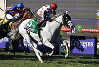 DEL MAR, CA - NOVEMBER 04: World Approval #5, ridden by John Velazquez pulls ahead during the Breeders' Cup Mile race on Day 2 of the 2017 Breeders' Cup World Championships at Del Mar Racing Club on November 4, 2017 in Del Mar, California. (Photo by Bob Mayberger/Eclipse Sportswire/Breeders Cup)