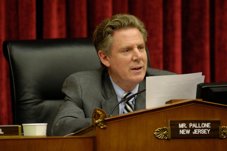 WASHINGTON, DC - April 24: Chairman Frank Pallone Jr., D-N.J., during the  House Energy and Commerce Subcommittee on Health hearing on overhauling the FDA. Rep. John D. Dingell is putting his considerable clout behind an ambitious import safety and Food and Drug Administration overhaul bill. But the opposition it is generating from almost every corner of the business world may prove to be a formidable counterweight. From local port authorities to the seafood industry -- with drugmakers and grocers in between -- private industry groups and lobby organizations are concerned about the draft bill's dozens of new regulations on drug and food imports and safety. (Photo by Scott J. Ferrell/Congressional Quarterly)