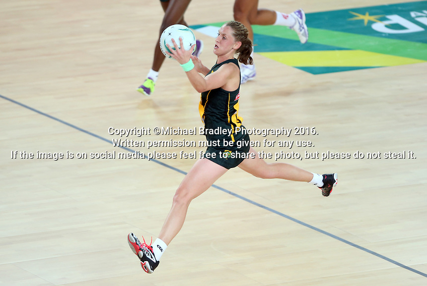 04.09.2016 South Africa's Erin Burger in action during the Netball Quad Series match between England and South Africa played at Margaret Court Arena in Melbourne. Mandatory Photo Credit ©Michael Bradley.