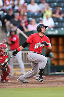 Frisco Rough Riders outfielder Jake Skole (5) at bat during a game against the Springfield Cardinals on June 1, 2014 at Hammons Field in Springfield, Missouri.  Springfield defeated Frisco 3-2.  (Mike Janes/Four Seam Images)