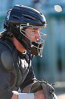 Stryker Trahan (25) of the Visalia Rawhide catches in the bullpen before a game against the Lancaster JetHawks at The Hanger on June 16, 2015 in Lancaster, California. Lancaster defeated Visalia, 11-3. (Larry Goren/Four Seam Images)