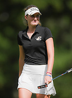 NWA Democrat-Gazette/CHARLIE KAIJO Bentonville girls golfer, Lilly Thomas, reacts after a shot during a golf tournament, Thursday, September 6, 2018 at the Bella Vista Country Club in Bella Vista. <br />