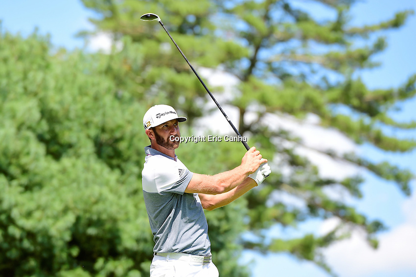 Friday, September 2, 2016: Dustin Johnson watches the flight of his ball down the 6th fairway during the first round of the Deutsche Bank Championship tournament held at the Tournament Players Club, in Norton, Massachusetts.  Eric Canha/Cal Sport Media