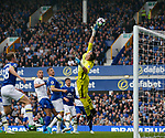 Joel Robles of Everton is beaten by a free kick from Marc Albrighton of Leicester City during the English Premier League match at Goodison Park Stadium, Liverpool. Picture date: April 9th 2017. Pic credit should read: Simon Bellis/Sportimage