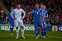 Wednesday 05 March 2014<br /> Pictured: Gareth Bale waits on a free kick in the Icelandic Box Re: International friendly Wales v Iceland at the Cardiff City Stadium, Cardiff,Wales UK