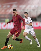 Calcio, Serie A: AS Roma - AC Milan, Roma, stadio Olimpico, 25 febbraio, 2018.<br /> Roma's Patrik Schick (l) in action with Milan's Giacomo Bonaventura (r) during the Italian Serie A football match between AS Roma and AC Milan at Rome's Olympic stadium, February 28, 2018.<br /> UPDATE IMAGES PRESS/Isabella Bonotto
