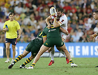 England's Alex Walmsley is tackled during the Rugby League World Cup final between Australia and England, Suncorp Stadium, Brisbane, Australia, 2 December 2017. Copyright Image: Tertius Pickard / www.photosport.nz MANDATORY CREDIT/BYLINE : Tertius Pickard/SWpix.com/PhotosportNZ