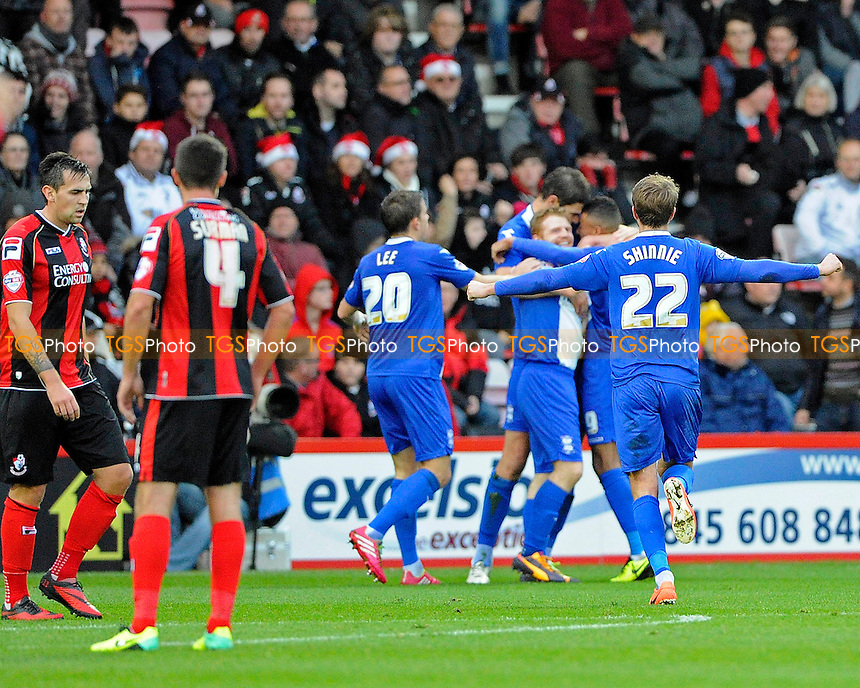 Birmingham City players celebrate Nikola Zigic's goal - AFC Bournemouth vs Birmingham City - Sky Bet Championship Football at the Goldsands Stadium, Bournemouth, Dorset - 14/12/13 - MANDATORY CREDIT: Denis Murphy/TGSPHOTO - Self billing applies where appropriate - 0845 094 6026 - contact@tgsphoto.co.uk - NO UNPAID USE