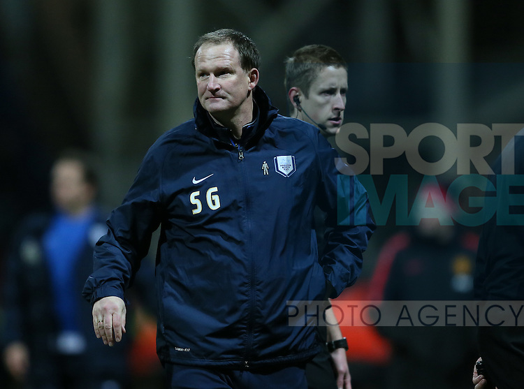 Dejected Simon Grayson manager of Preston North End - FA Cup Fifth Round - Preston North End  vs Manchester Utd  - Deepdale Stadium - Preston - England - 16th February 2015 - Picture Simon Bellis/Sportimage