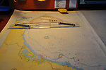 Chart table aboard the expedition vessel Spirit of Enderby. Passage plan to the Kermadec Islands.