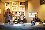 """Henry Winkler (Happy Days) and Lin Oliver are the authors of a new series Ghost Buddy """"Zero to Hero"""" and are joined with Theo Baker, author of Sound Bender, on January 25, 2012 at Books of Wonder, New York City, New York. (Photo by Sue Coflin/Max Photos)"""