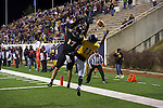 SALEM, VA - DECEMBER 16:  Johnny Eagan (17) of the University of Wisconsin-Oshkosh defends Wykeyhe Walker (11) of the University of Mary Hardin-Baylor during the Division III Men's Football Championship held at Salem Stadium on December 16, 2016 in Salem, Virginia.   Mary Hardin-Baylor defeated the University of Wisconsin-Oshkosh 10-7 for the national title. (Photo by Don Petersen/NCAA Photos via Getty Images)