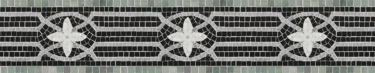 "8"" Coventry border, a hand-cut stone mosaic, shown in polished Bardiglio, Nero Marquina, Kay's Green, and Calacatta Tia."