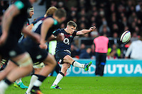Owen Farrell of England restarts play. Old Mutual Wealth Series International match between England and Argentina on November 26, 2016 at Twickenham Stadium in London, England. Photo by: Patrick Khachfe / Onside Images