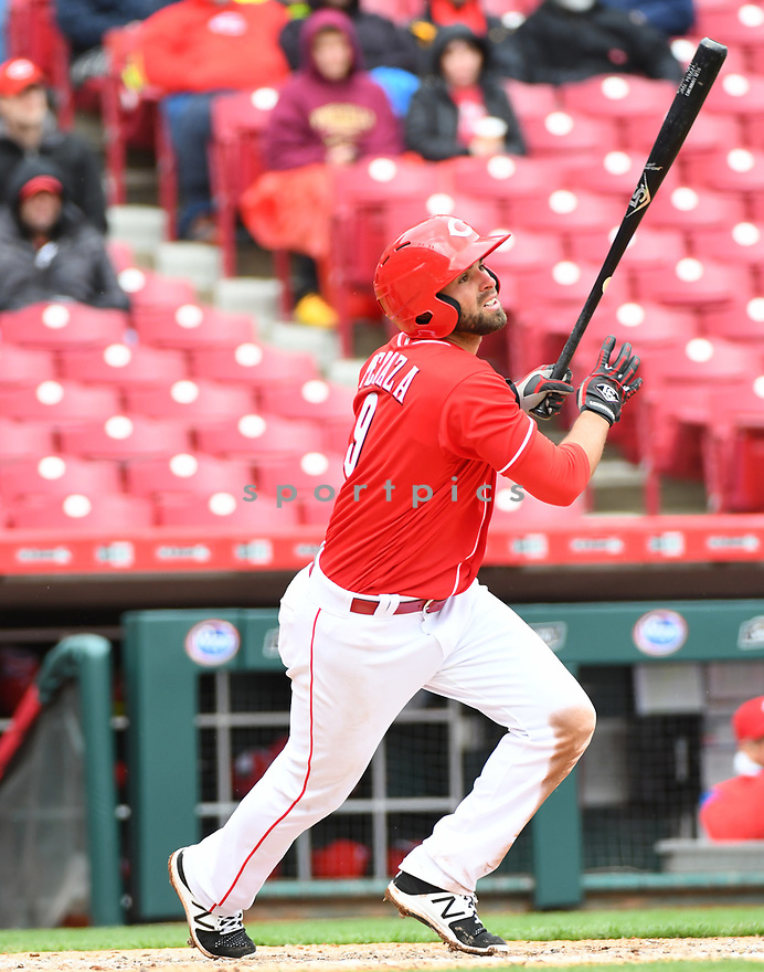 Cincinnati Reds Jose Peraza (9) during a game against the Philadelphia Phillies on April 6, 2017 at Great American Ballpark in Cincinnati, OH. The Reds beat the Phillies 4-7.