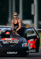 Jun. 15, 2012; Bristol, TN, USA: NHRA pro stock driver Erica Enders during qualifying for the Thunder Valley Nationals at Bristol Dragway. Mandatory Credit: Mark J. Rebilas-