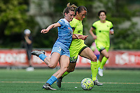 Seattle, WA - Sunday, May 22, 2016: Chicago Red Stars defender Arin Gilliland (3) and Seattle Reign FC forward Kiersten Dallstream (25) during a regular season National Women's Soccer League (NWSL) match at Memorial Stadium.