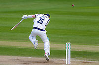 Picture by Alex Whitehead/SWpix.com - 22/04/2018 - Cricket - Specsavers County Championship Div One - Yorkshire v Nottinghamshire, Day 3 - Emerald Headingley Stadium, Leeds, England - Yorkshire's Josh Shaw ducks from the oncoming ball.