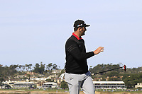 Jon Rahm (ESP) sinks his birdie putt on the 7th green during Sunday's Final Round of the 2018 AT&amp;T Pebble Beach Pro-Am, held on Pebble Beach Golf Course, Monterey,  California, USA. 11th February 2018.<br /> Picture: Eoin Clarke | Golffile<br /> <br /> <br /> All photos usage must carry mandatory copyright credit (&copy; Golffile | Eoin Clarke)