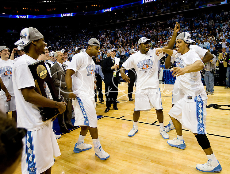 North Carolina celebrates after winning during the NCAA Basketball Men's East Regional at Time Warner Cable Arena in Charlotte, NC.