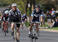 University of New Hampshire's Sheldon Hurst, left, and Columbia University-NYC's Matthew Sherman, right, vie for third place at the finish line at the  Men's D1 Criterium at the Eastern Collegiate Cycling Conference Championships on April 28, 2013.  Photo/©2013 Craig Houtz