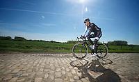 Fabian Cancellara (CHE/TrekFactoryRacing) Roubaix  recon<br /> <br /> 2014 Paris - Roubaix reconnaissance