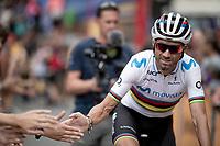 World Champion Alejandro Valverde (ESP/Movistar) at the race start in Andorra la Vella<br /> <br /> Stage 9: Andorra la Vella to Cortals d'Encamp (94km) - ANDORRA<br /> La Vuelta 2019<br /> <br /> ©kramon