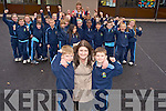 Tomas and Seamus Connolly, Killarney who will appear on RTE's Irelands Got Talent on Sunday evening, pictured with their mother Maggie, teacher Noranne O'Sullivan and classmates at St Olivers National School on Tuesday.